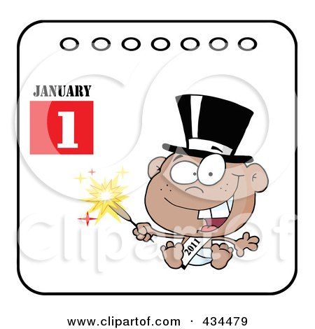 Royalty-Free (RF) Clipart Illustration of a Black New Year Baby Holding A Sparkler On A Calendar by Hit Toon