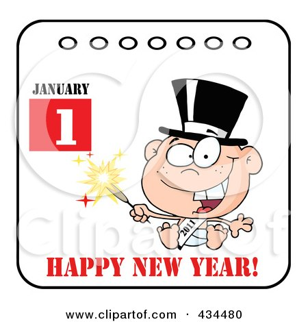 Royalty-Free (RF) Clipart Illustration of a New Year Baby Holding A Sparkler On A Calendar With Text by Hit Toon