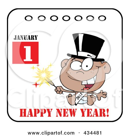 Royalty-Free (RF) Clipart Illustration of a Black New Year Baby Holding A Sparkler On A Calendar With Text by Hit Toon