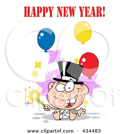 Royalty-Free (RF) Clipart Illustration of a New Year Baby Holding A Sparkler With Happy New Year Text And Balloons by Hit Toon