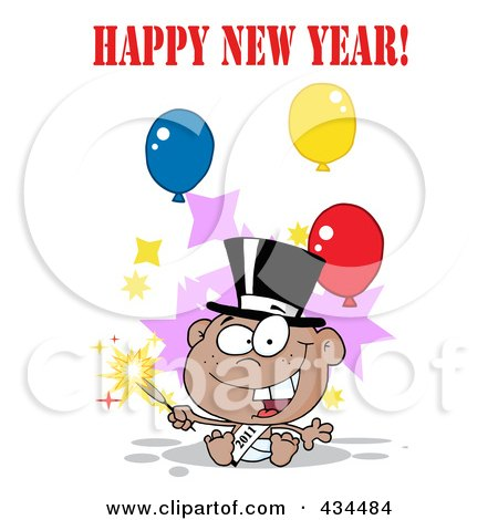Royalty-Free (RF) Clipart Illustration of a Black New Year Baby Holding A Sparkler With Happy New Year Text And Balloons by Hit Toon
