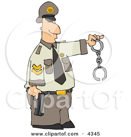 Policeman Holding a Pistol and Handcuffs Posters, Art Prints