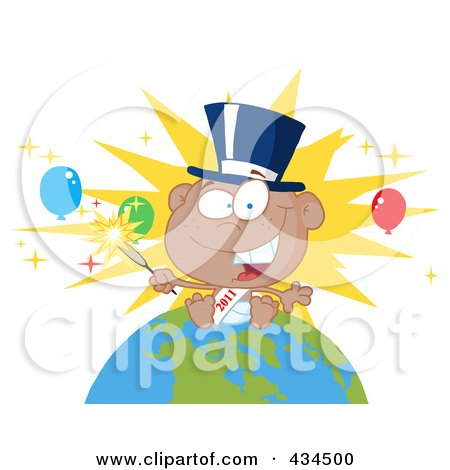 Royalty-Free (RF) Clipart Illustration of a Black New Year Baby Holding A Sparkler On A Globe - 2 by Hit Toon