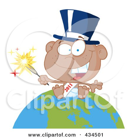 Royalty-Free (RF) Clipart Illustration of a Black New Year Baby Holding A Sparkler On A Globe - 1 by Hit Toon