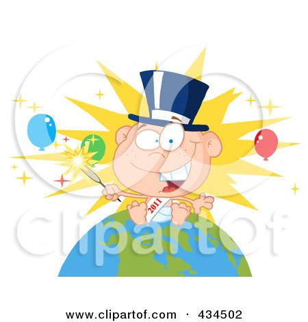 Royalty-Free (RF) Clipart Illustration of a New Year Baby Holding A Sparkler On A Globe - 2 by Hit Toon