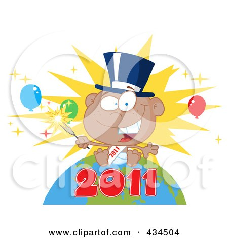 Royalty-Free (RF) Clipart Illustration of a Black New Year Baby Holding A Sparkler On A Globe - 3 by Hit Toon