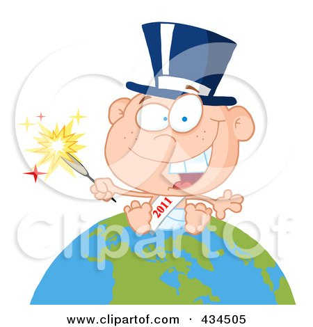 Royalty-Free (RF) Clipart Illustration of a New Year Baby Holding A Sparkler On A Globe - 1 by Hit Toon