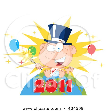 Royalty-Free (RF) Clipart Illustration of a New Year Baby Holding A Sparkler On A Globe - 3 by Hit Toon