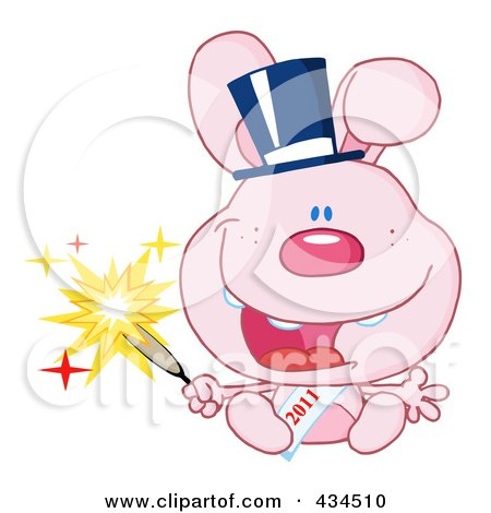 Royalty-Free (RF) Clipart Illustration of a 2011 New Year Rabbit Holding A Sparkler - 1 by Hit Toon