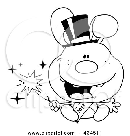 Royalty-Free (RF) Clipart Illustration of an Outlined 2011 New Year Rabbit Holding A Sparkler by Hit Toon