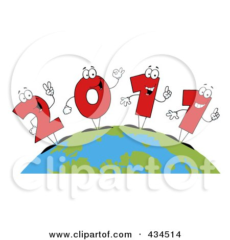 Royalty-Free (RF) Clipart Illustration of 2011 New Year Characters On A Globe - 1 by Hit Toon