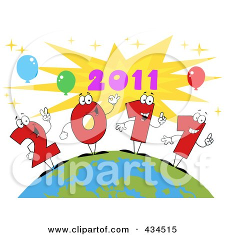 Royalty-Free (RF) Clipart Illustration of 2011 New Year Characters On A Globe - 3 by Hit Toon