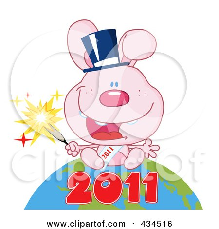Royalty-Free (RF) Clipart Illustration of a 2011 New Year Rabbit Holding A Sparkler And Sitting On The Globe - 2 by Hit Toon