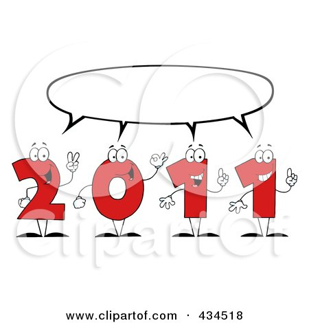 Royalty-Free (RF) Clipart Illustration of 2011 New Year Characters - 2 by Hit Toon