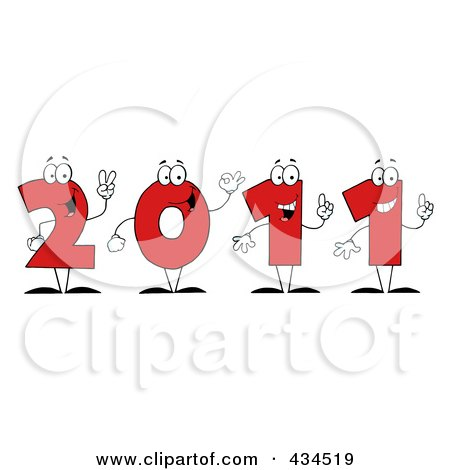 Royalty-Free (RF) Clipart Illustration of 2011 New Year Characters - 1 by Hit Toon