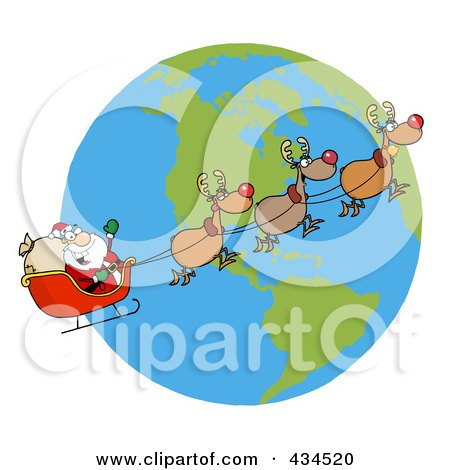 Royalty-Free (RF) Clipart Illustration of Santa And Reindeer Flying Over Earth by Hit Toon