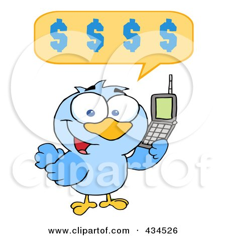 Royalty-Free (RF) Clipart Illustration of a Bird Calling With A Dollar Balloon by Hit Toon