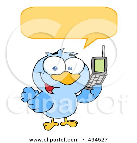 Royalty-Free (RF) Clipart Illustration of a Bird Calling With A Word Balloon by Hit Toon