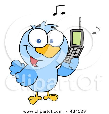 Royalty-Free (RF) Clipart Illustration of a Bird Calling by Hit Toon