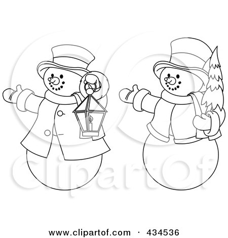 Royalty-Free (RF) Clipart Illustration of a Digital Collage Of Outlines Of Two Snowmen With A Christmas Tree And Lantern by Pushkin