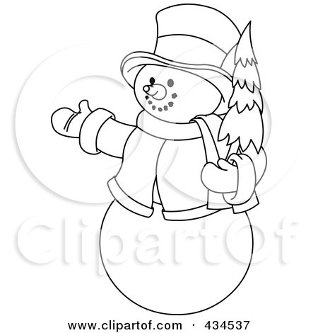 434537-Outline-Of-A-Snowman-Holding-A-Christmas-Tree-And-Presenting ...