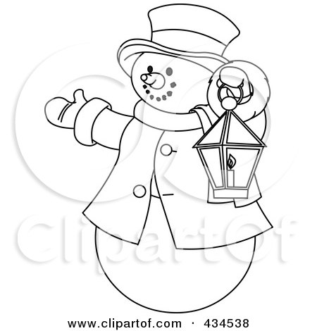 Royalty-Free (RF) Clipart Illustration of an Outline Of A Snowman Holding A Lantern And Presenting by Pushkin