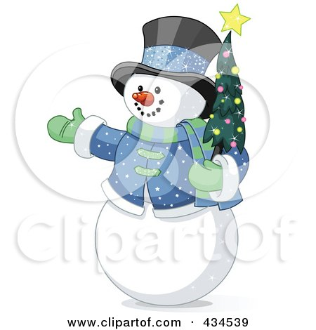 Royalty-Free (RF) Clipart Illustration of a Snowman Wearing A Top Hat And Holding A Christmas Tree by Pushkin