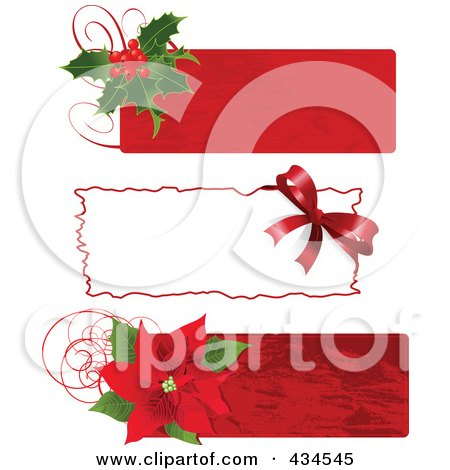 Royalty-Free (RF) Clipart Illustration of a Digital Collage Of Three Christmas Holly, Bow And Poinsettia Labels by Pushkin