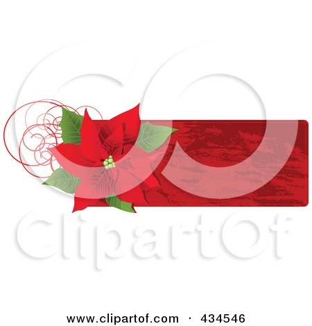 Royalty-Free (RF) Clipart Illustration of a Red Christmas Poinsettia Label by Pushkin