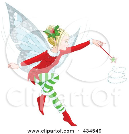 Royalty-Free (RF) Clipart Illustration of a Christmas Fairy Whirling Her Magic Wand by Pushkin