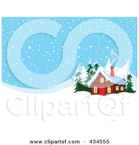 Royalty-Free (RF) Clipart Illustration of Smoke Rising From A Winter Cabin's Chimney, Against A Snowy Background by Pushkin