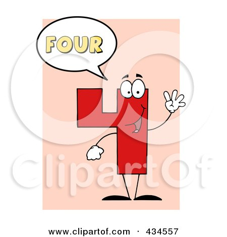 Royalty-Free (RF) Clipart Illustration of a Number Four Character With A Word Balloon Over Pink by Hit Toon