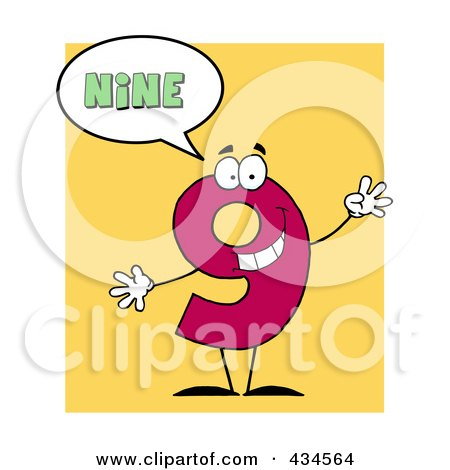Royalty-Free (RF) Clipart Illustration of a Number Nine Character With A Word Balloon Over Yellow by Hit Toon