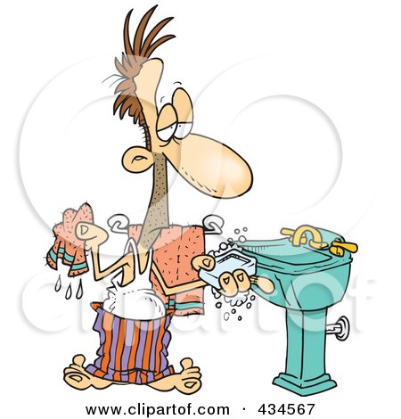 Royalty-Free (RF) Clipart Illustration of a Man Washing His Hands With Soap And A Wash Cloth by toonaday