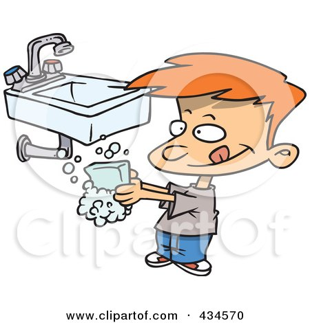 Royalty-Free (RF) Clipart Illustration of a Line Art Design Of A Boy Washing His Hands With Soap by toonaday
