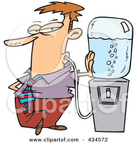 Royalty-Free (RF) Clipart Illustration of a Businessman Sucking Water From A Water Cooler With A Tube by toonaday
