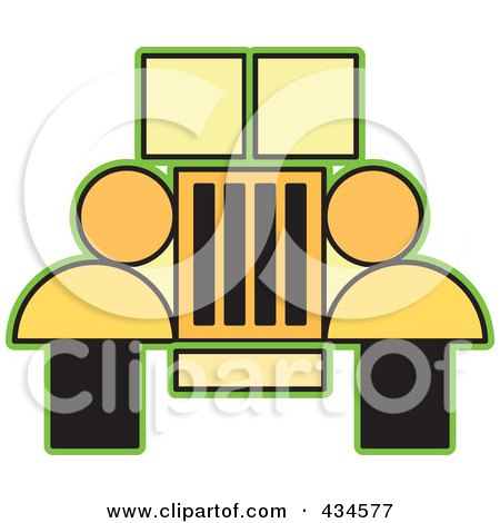 Royalty-Free (RF) Clipart Illustration of a Yellow Jeep by Lal Perera