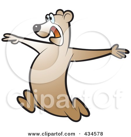 Royalty-Free (RF) Clipart Illustration of a Running Bear - 3 by Lal Perera
