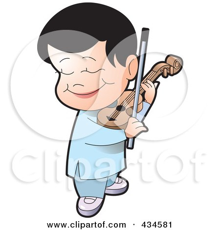 Royalty-Free (RF) Clipart Illustration of a Happy Boy Playing A Violin by Lal Perera