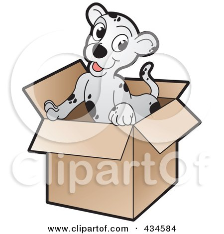 Royalty-Free (RF) Clipart Illustration of a Cute Puppy In A Cardboard Box by Lal Perera