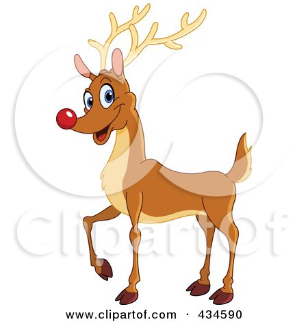 Royalty-Free (RF) Clipart Illustration of a Red Nosed Reindeer Smiling by yayayoyo