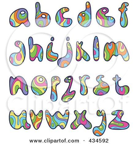 Royalty-Free (RF) Clipart Illustration of a Digital Collage Of Colorful Psychedelic Lowercase Letters by yayayoyo