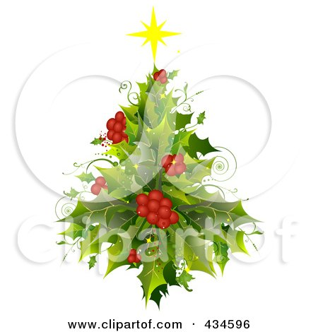 Royalty-Free (RF) Clipart Illustration of a Holly Christmas Tree by BNP Design Studio