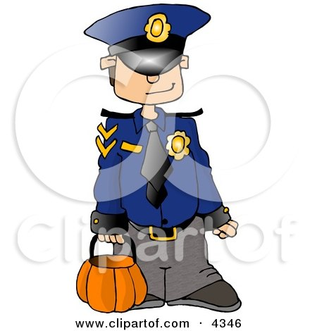 Boy Wearing a Police Officer Costume On Halloween Clipart by djart