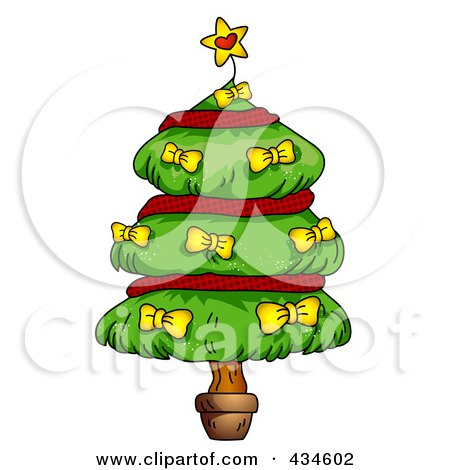 Royalty-Free (RF) Clipart Illustration of a Plump Christmas Tree With Red Garland And Yellow Bows by BNP Design Studio