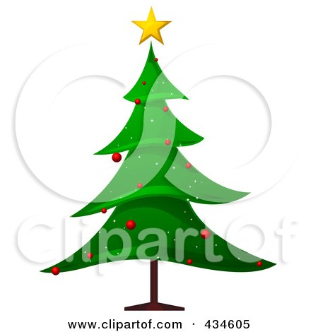 Royalty-Free (RF) Clipart Illustration of a Christmas Tree With Red Ornaments by BNP Design Studio
