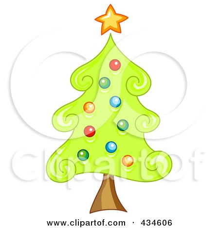 Royalty-Free (RF) Clipart Illustration of a Swirly Christmas Tree by BNP Design Studio