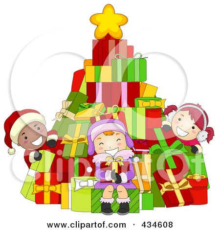 Royalty-Free (RF) Clipart Illustration of Diverse Christmas Kids With A Gift Christmas Tree by BNP Design Studio