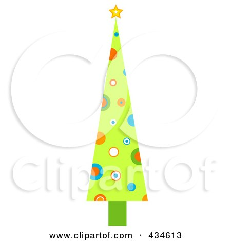Royalty-Free (RF) Clipart Illustration of a Tall Retro Christmas Tree With Circles by BNP Design Studio
