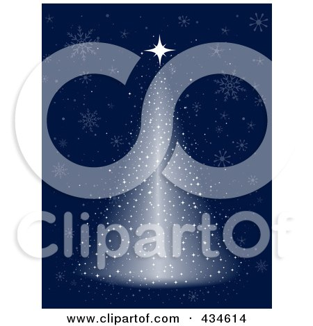 Royalty-Free (RF) Clipart Illustration of a Shining Snow Christmas Tree On Blue by BNP Design Studio